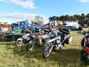 Our bikes at the recent Laigh o Moray rally at Inchkeil Farm, Roseisle.